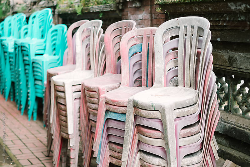 Plastic chairs by Sam Burton for Stocksy United