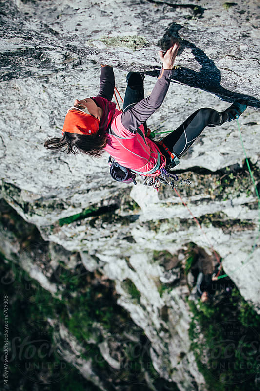 Female rock climber on a mountain cliff by Micky Wiswedel for Stocksy United