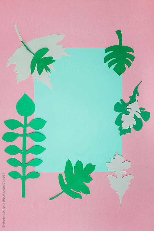 Paper Leaves Arranged with a Pink Pastel Background by Katarina Radovic for Stocksy United