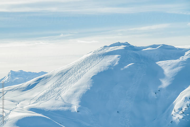 powderlines on snowcovered mountain by Leander Nardin for Stocksy United