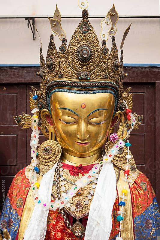 Close up of statue of Buddha by Shikhar Bhattarai for Stocksy United