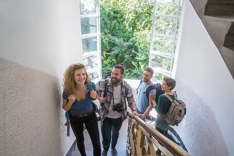 Group of Young Tourist Searching for the Hostel by Aleksandra Jankovic for Stocksy United