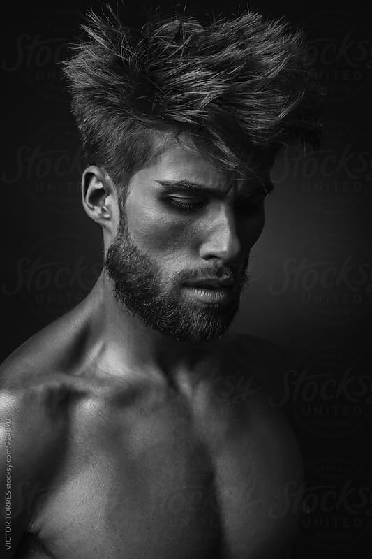 Black and White Portrait of a Handsome Man by VICTOR TORRES for Stocksy United
