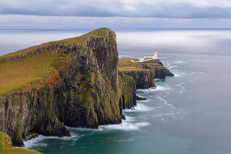 Neist Point lighthouse, the westernmost point of Skye, Duirinish, Isle of Skye, Inner Hebrides, Scotland, United Kingdom, Europe by Gavin Hellier for Stocksy United