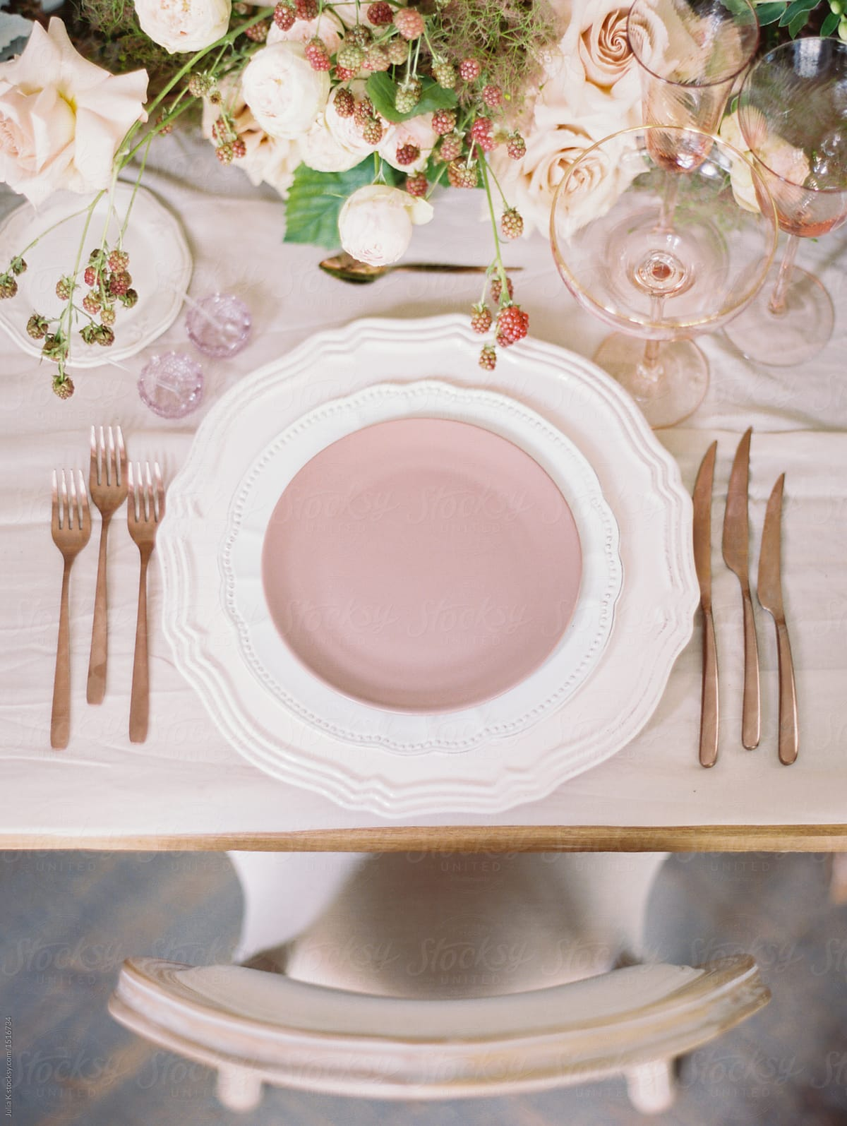 Blush And Gold Table Setting Stocksy United