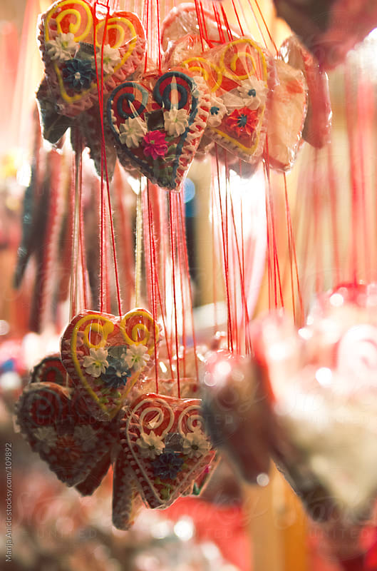 Candied hearts on night market by Marija Anicic for Stocksy United