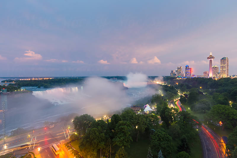 Panorama of Niagara Falls at Twilight, Canada / United States by Tom Uhlenberg for Stocksy United