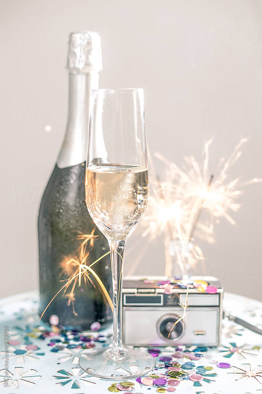 Sparklers and Champagne Make the Perfect Celebration by suzanne clements for Stocksy United
