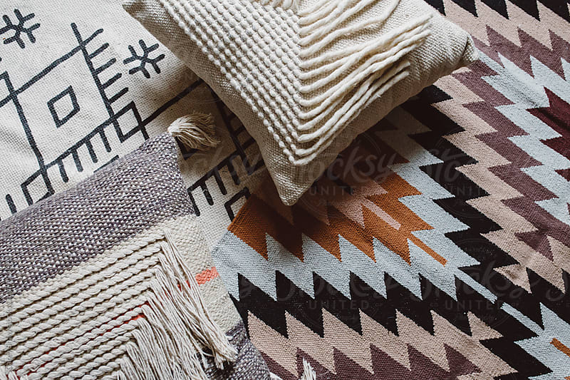Modern pattern pillow and rugs by Carey Shaw for Stocksy United