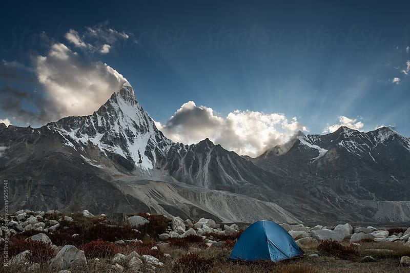 tent in mountains by RG&B Images for Stocksy United