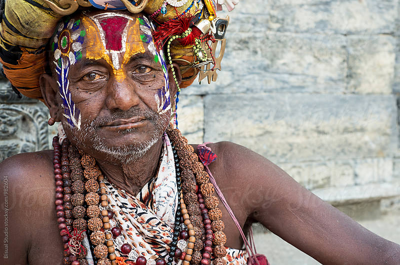 Portrait of a Holy Man in Kathmandu by Bisual Studio for Stocksy United