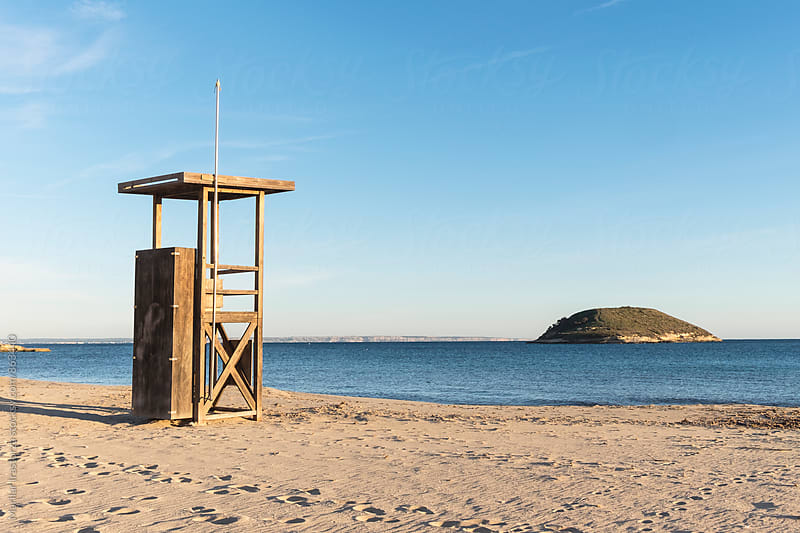 Beach rescue station at a winter day in Majorca by Marilar Irastorza for Stocksy United