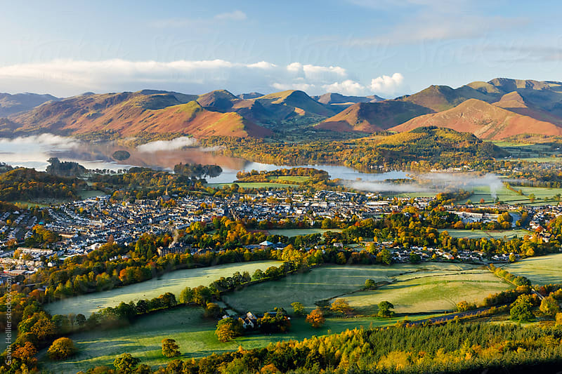 United Kingdom, England, Cumbria, Lake District, View over Keswick and Derwent Water from the Skiddaw Range by Gavin Hellier for Stocksy United