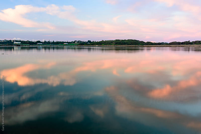 Pink Clouds Reflected at Glenelg River Mouth, Australia by Gary Radler Photography for Stocksy United