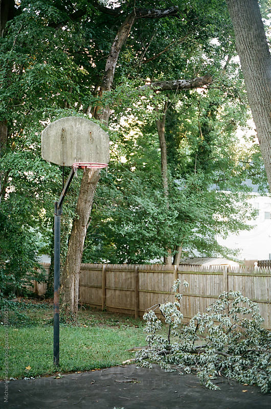 Basketball Hoop in the backyard of McLean, VA by Michael Andrade for Stocksy United