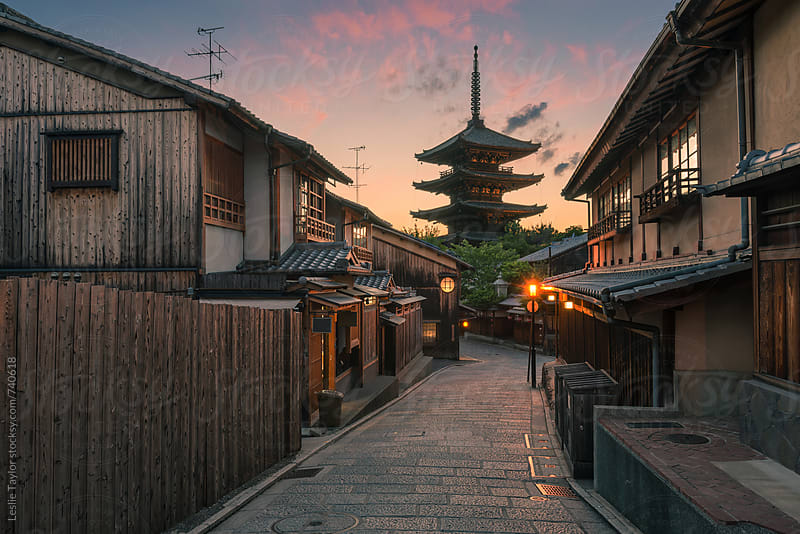 Sunset In The Old Streets of Kyoto by Leslie Taylor for Stocksy United