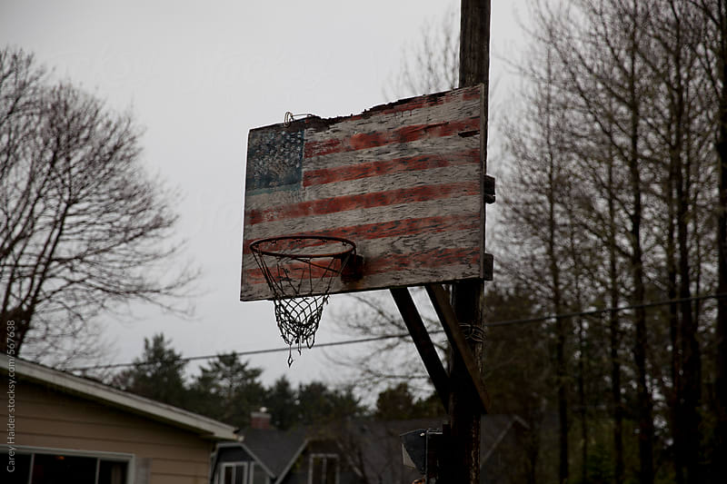 American Flag Basketball Hoop by Carey Haider for Stocksy United