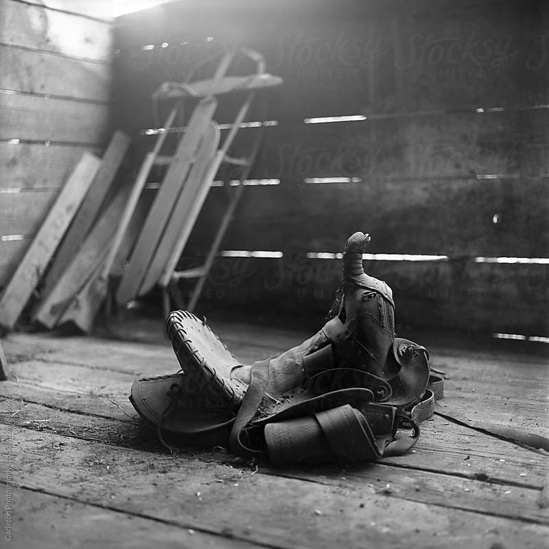 Dusty saddle on a barn floor by Carleton Photography for Stocksy United