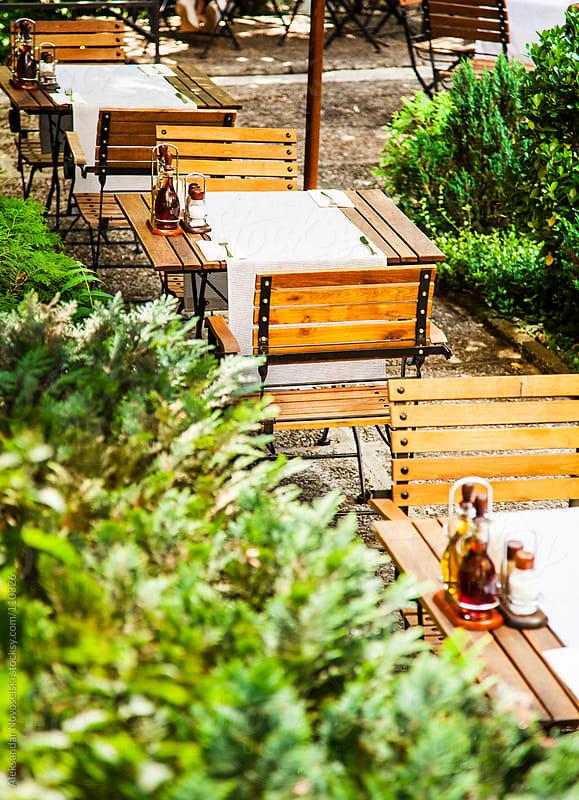 Restaurant outdoors by Aleksandar Novoselski for Stocksy United