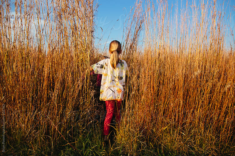 girl entering field of tall grass by Brian Powell for Stocksy United