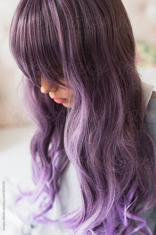Fashionable young woman with purple hair by Jovana Rikalo for Stocksy United