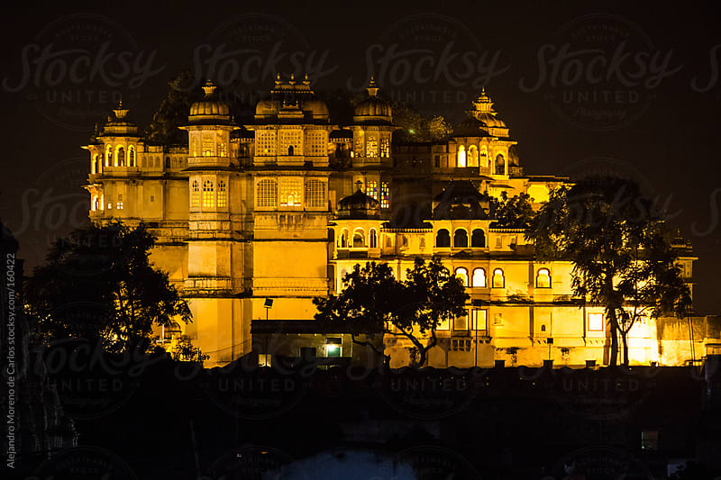 Palace at night in Udaipur, India by Alejandro Moreno de Carlos for Stocksy United