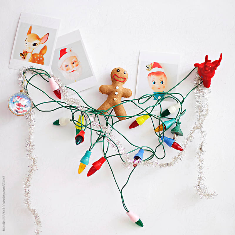 collection of vintage Christmas decorations by Natalie JEFFCOTT for Stocksy United