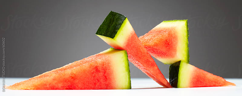 Watermelon in equilibrium. by BONNINSTUDIO for Stocksy United