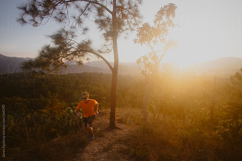 trail running trail outside at sunset. by Soren Egeberg for Stocksy United