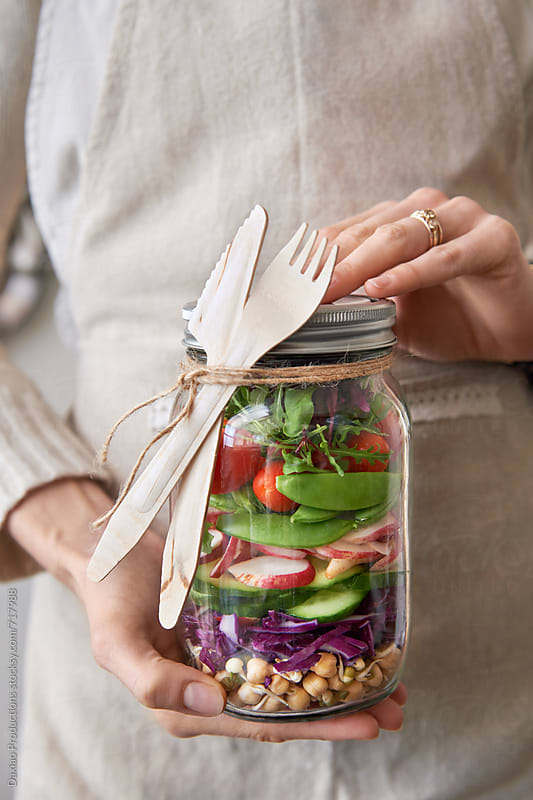 fresh colorful salad sealed in a mason jar by Daxiao Productions for Stocksy United