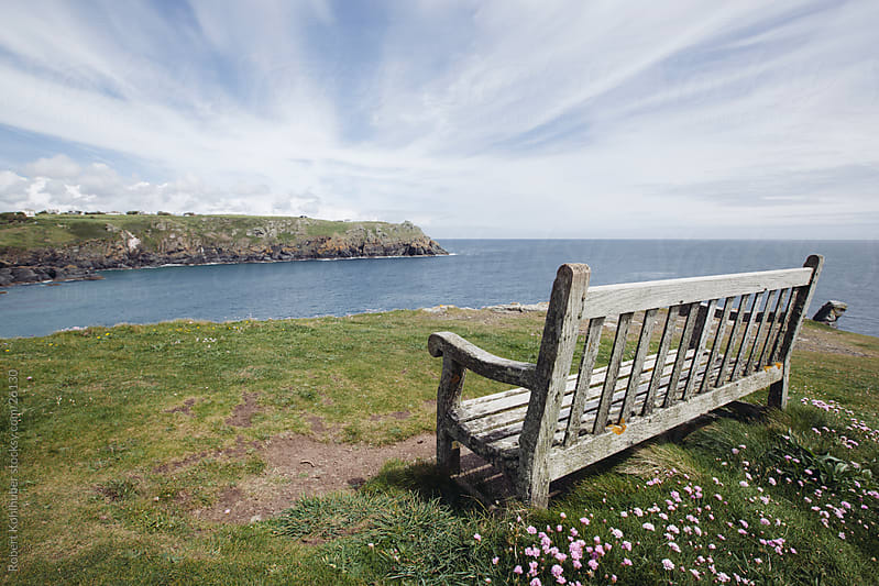 Bench on the English coast by Robert Kohlhuber for Stocksy United
