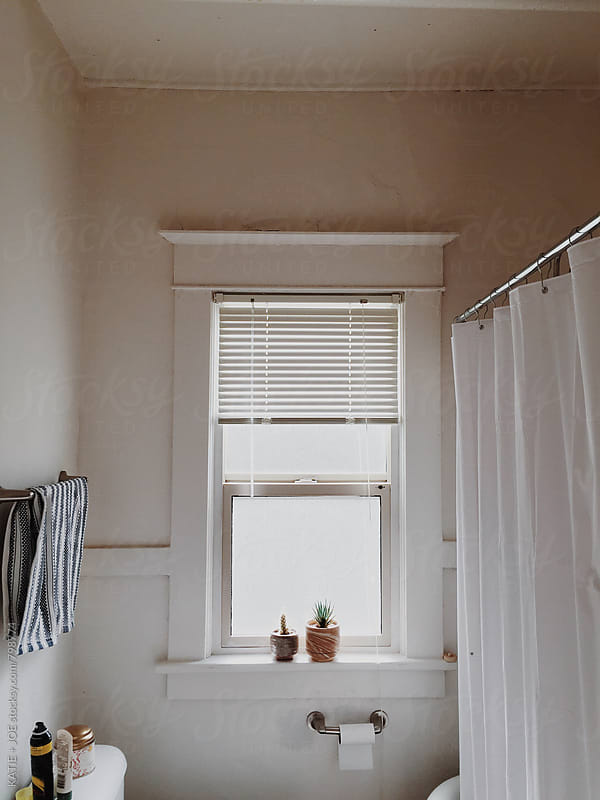 bathroom with a two plants on the windowsill  by KATIE + JOE for Stocksy United
