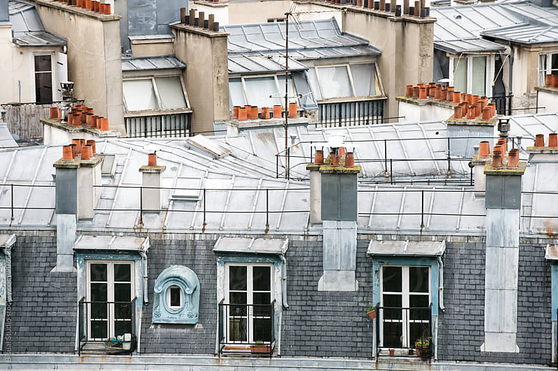 Rooftops and chimneys in Paris by Bisual Studio for Stocksy United