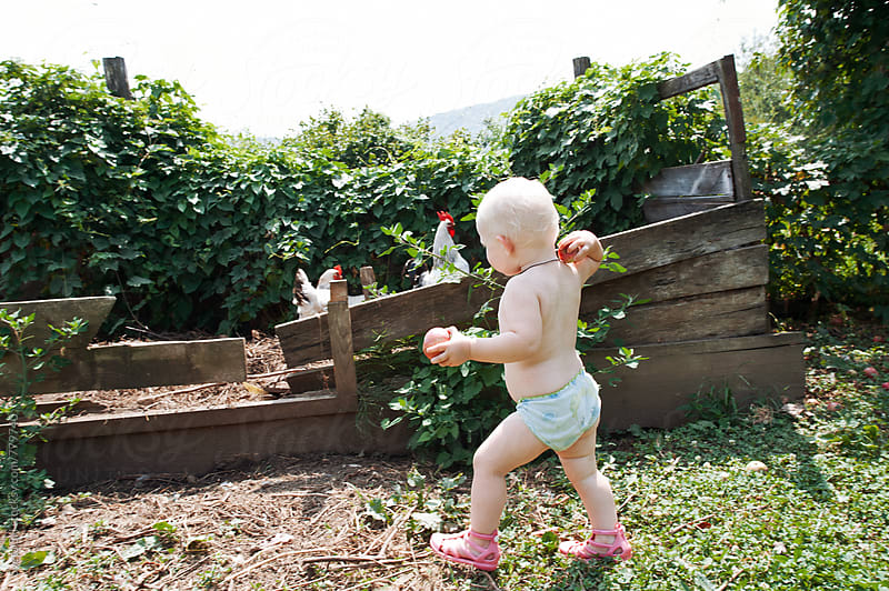 Little girl and chickens. by Sveta SH for Stocksy United