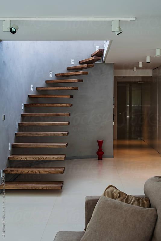 Stairway in minimalist interior by Aleksandar Novoselski for Stocksy United