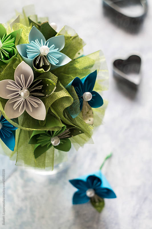 Paper flower bouquet by Viktorné Lupaneszku for Stocksy United