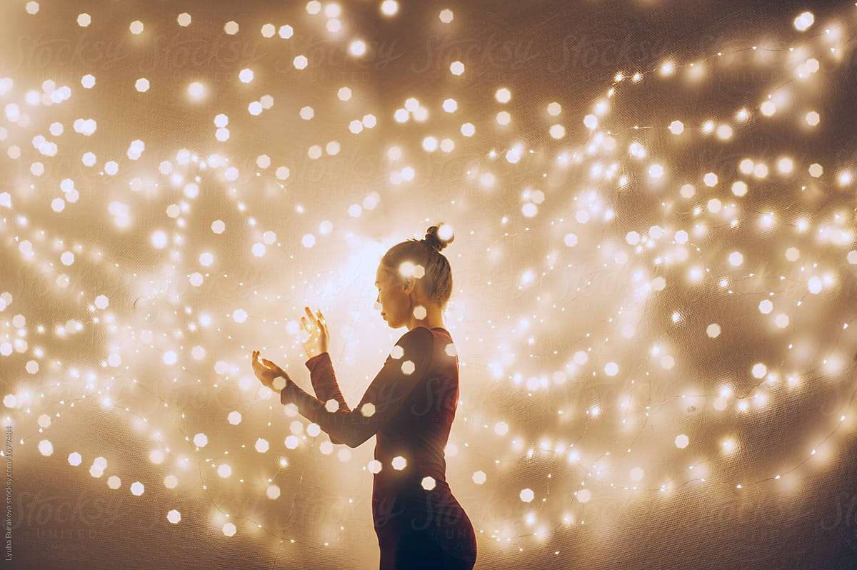 Creative Image Of A Woman Surrounded By Light Double
