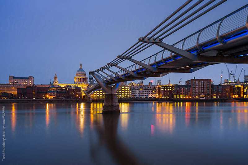 London, United Kingdom - City Skyline with St Paul's Cathedral, Millenium Bridge and the Thames at Dawn by Tom Uhlenberg for Stocksy United