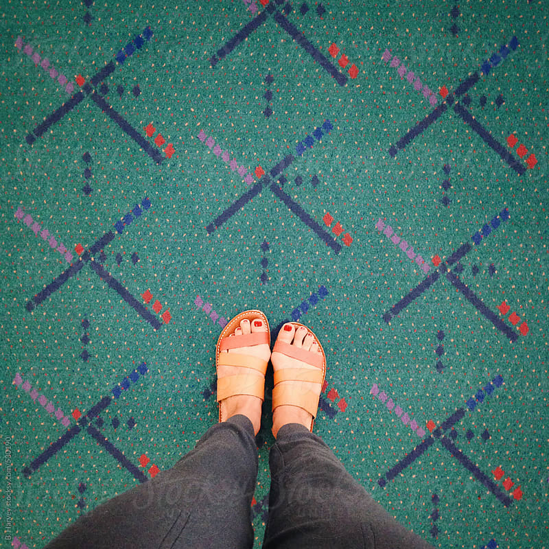 Women's Feet on Iconic Portland International Airport Carpet by B. Harvey for Stocksy United