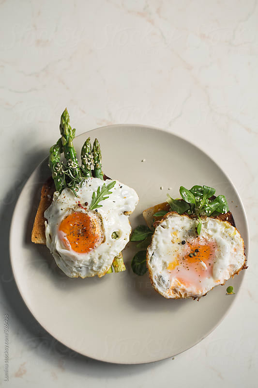 Fried Egg and Asparagus Toast Sandwiches by Lumina for Stocksy United