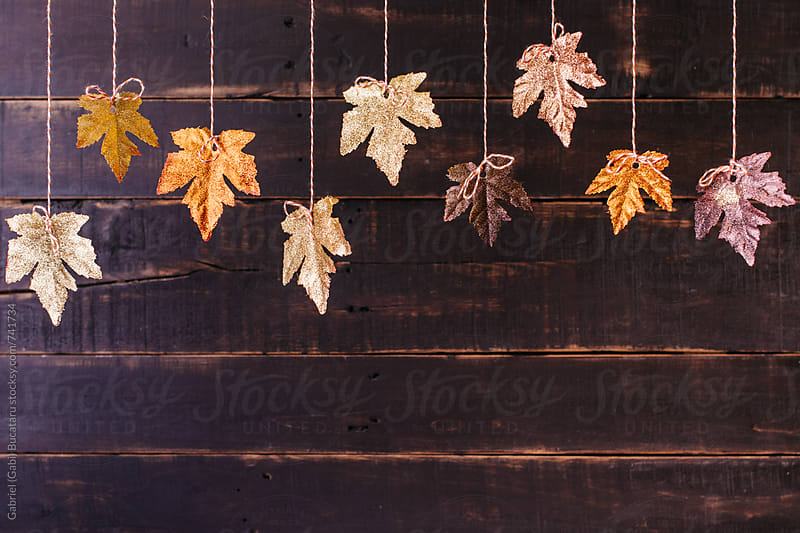 Ornamental glittery fall leaves hanging by Gabriel (Gabi) Bucataru for Stocksy United