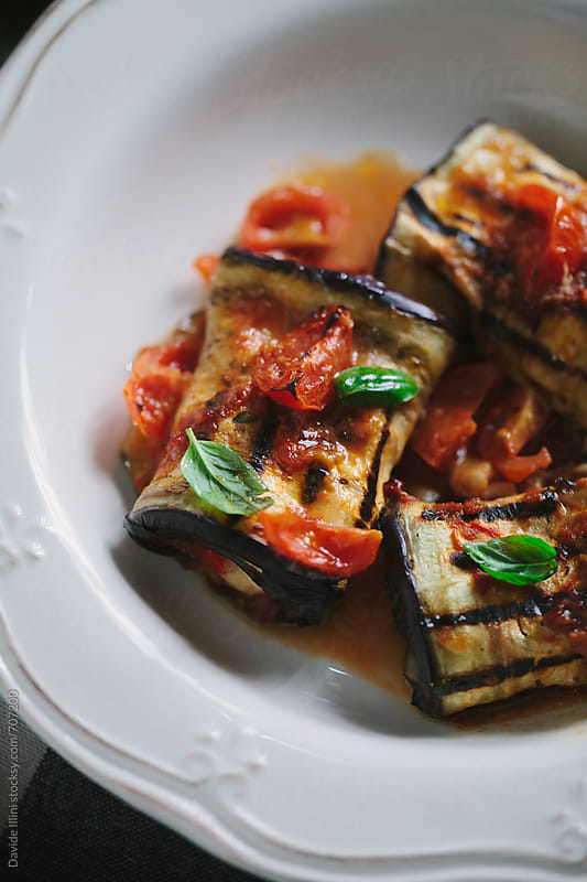Stuffed Roasted Eggplant Rolls by Davide Illini for Stocksy United