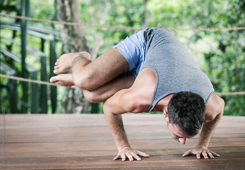 Yoga: Side Crane Pose by VISUALSPECTRUM for Stocksy United
