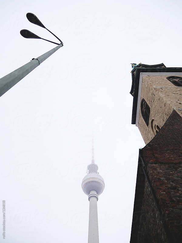 View of the top of the Fernsehturm in Berlin by rolfo for Stocksy United