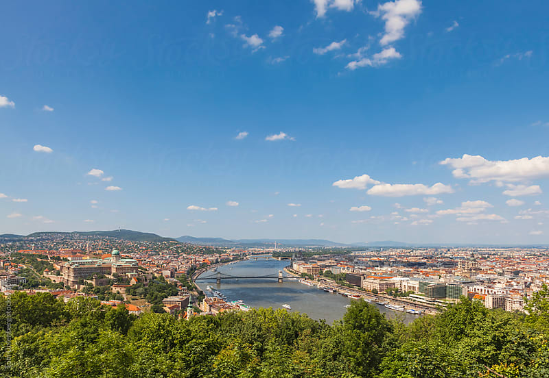 Budapest, Hungary - Panorama of the City and the River Danube on a Sunny Summer Day by Tom Uhlenberg for Stocksy United