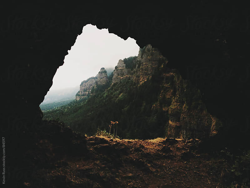 Columbia River Gorge Through Rock Arch by Kevin Russ for Stocksy United