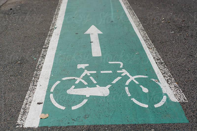 Designated track for bicycles on a sidewalk by Gabriel (Gabi) Bucataru for Stocksy United