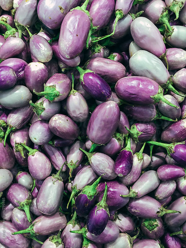 top view of purple eggplants by Juri Pozzi for Stocksy United