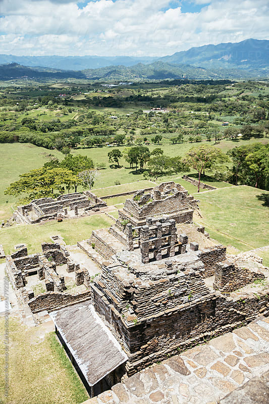 Aerial view of Tonina ancient pre-columbian ruins from a lookout by Alejandro Moreno de Carlos for Stocksy United