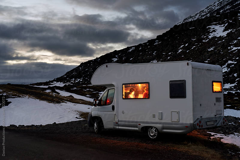 Campervan parked in iceland by Daxiao Productions for Stocksy United